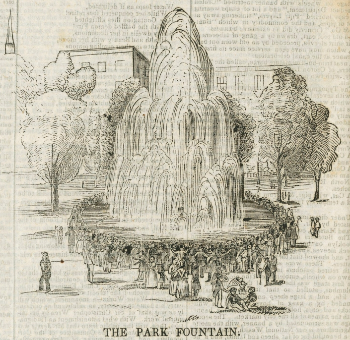 Wood engraving of the Croton Fountain in City Hall Park from the Dollar Weekly.