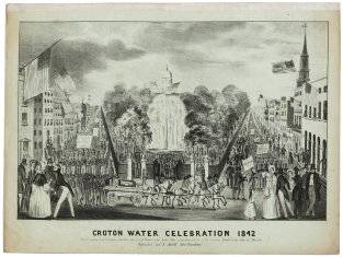 "Cover of the sheet music of The Celebrated Croton Ode, ""written at the request of the Corporation of the city of New-York by George P. Morris, Esq. and sung in front of the park fountain by Mrs. Strong, Miss J. Pearson, Mr. J. Pearson, and the members of the N.Y. Sacred Music Society, on the completion of the Croton Aqueduct., October 14th, 1842."""
