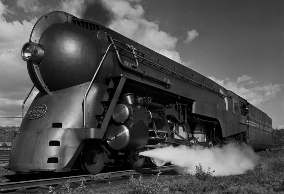 The Twentieth Century Limited engine at the Harmon yards. Photograph by Robert Yarnall Richie.