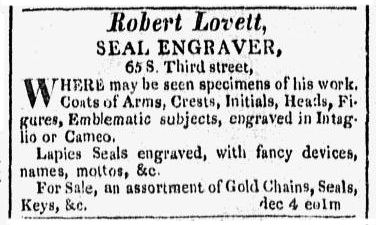 Advertisement from Poulson's American Daily Advertiser, [Philadelphia], January 15, 1818.