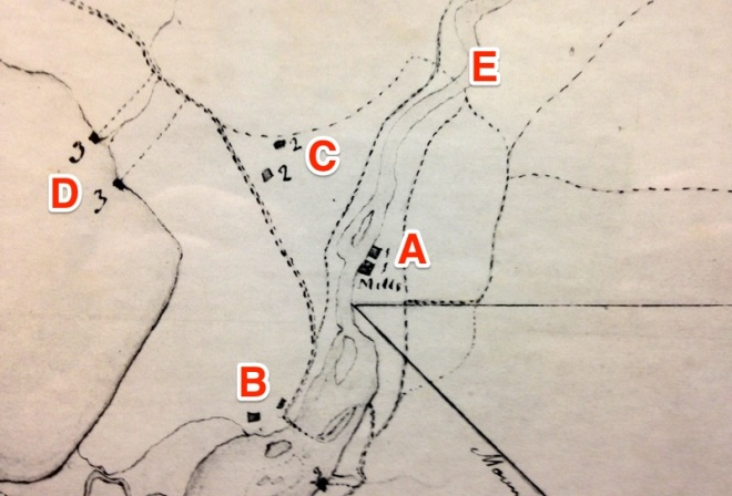 Detail from a map of Cortlandt Manor in 1797 showing (A) the mill complex, (B) Van Cortlandt Manor and the Ferry House, (C) Bethel Chapel and the Quaker Meeting House, (D) docks on the Hudson River and (E) the location where Quaker Bridge is today. Since there is no line across the river indicating a bridge it is likely the bridge had been washed away by a freshet at the time this map was made.
