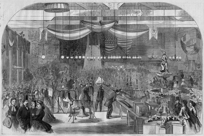 View of one of the American Institute's fairs from Harper's magazine.
