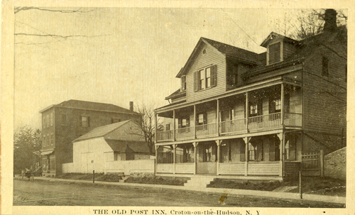 A postcard of the Old Post Road Inn before it burned down. The brick building on the left is still there—the Cornelia Cotton Gallery is on the bottom floor.