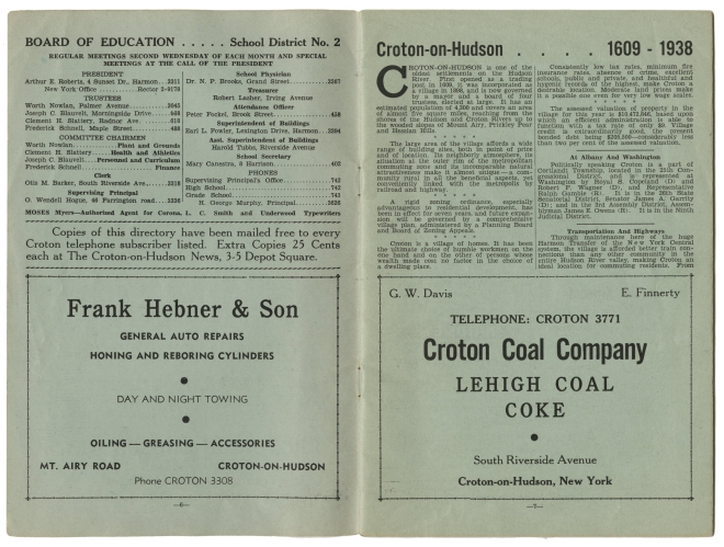 Pages from the 1938 Croton-on-Hudson phone directory. Courtesy of Carl Oechsner.