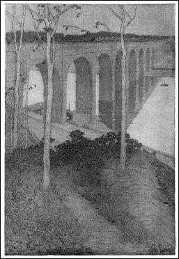 High Bridge, New York City by Jules Guerin. Century Magazine, October, 1902