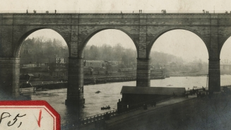 Detail of pedestrians on High Bridge, circa 1915. Private collection.