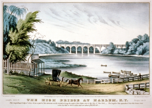 The High Bridge at Harlem, N.Y. Published by Nathaniel Currier, circa 1849. Library of Congress Prints and Photographs Division.