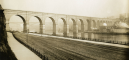 High Bridge looking north toward the Alexander Hamilton Bridge. Early 1900s. Lehman College Library, CUNY.