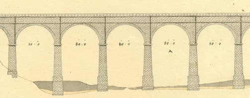 Detail from John B. Jervis' plan of High Bridge, circa 1844. Jervis Library.