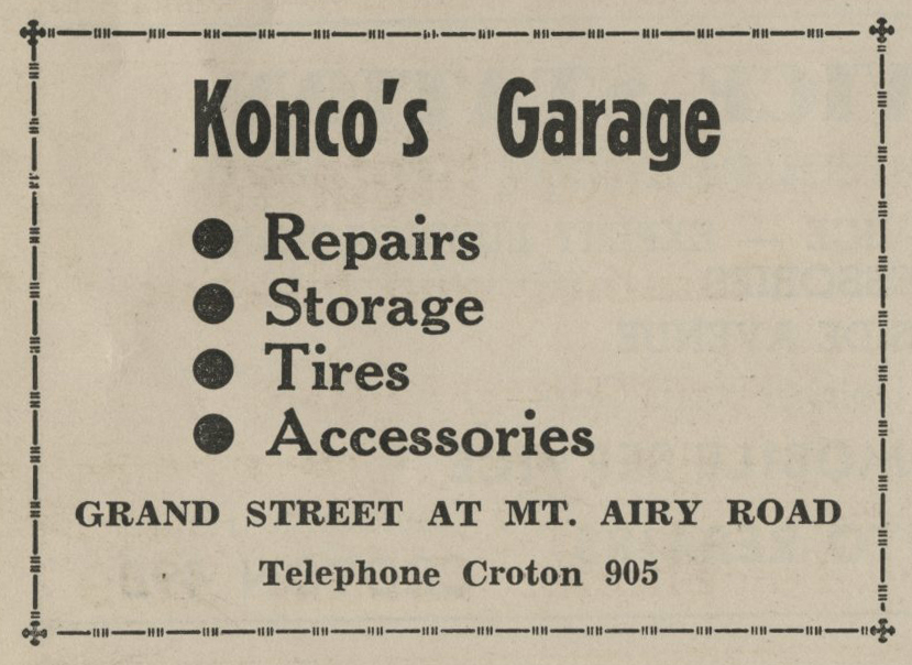 Ad for Konco's Garage from the 1938 Croton-on-Hudson phone directory.