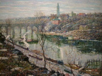 Harlem River at High Bridge by Ernest Lawson, 1911. De Young Museum.