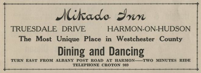 Ad for the Mikado Inn from the 1938 Croton-on-Hudson phone directory.