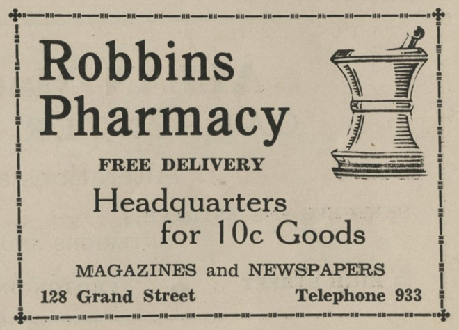Ad for Robbins Pharmacy from the 1938 Croton-on-Hudson phone directory.