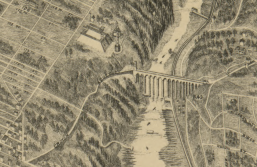 Bird's eye view of High Bridge. Detail from The City of New York by Will L. Taylor, chief draughtsman. New York, Galt & Hoy, 1879. The Library of Congress.