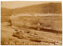 A rarely seen view of the area behind the dam during construction.