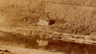 "This is probably the house of Aaron Cornell, along the original bank of the Croton River. The road below the house was called ""the Dugway."""