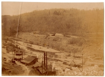 Looking south at the construction area below the dam
