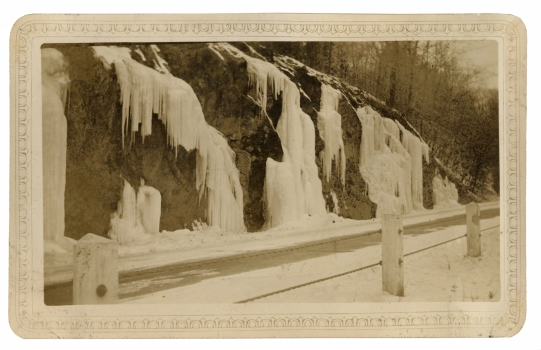 Ice along the road to the New Croton Dam, February, 1934. Click the image to enlarge it.