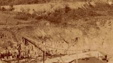 Detail showing the suspension bridge