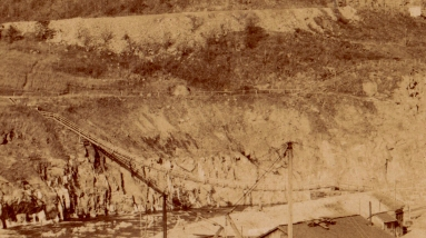 Detail showing the suspension bridge