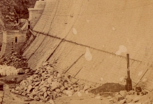 Detail showing stone at the base of the dam