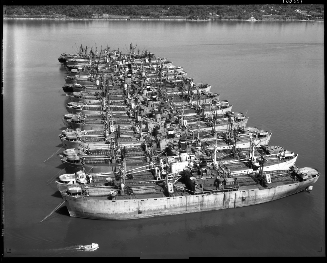 The Hudson River National Defense Fleet, June 10, 1946. Courtesy of the New York State Archives.