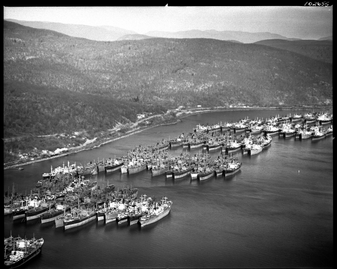 The Hudson River National Defense Fleet, December 14, 1947. Courtesy of the New York State Archives.
